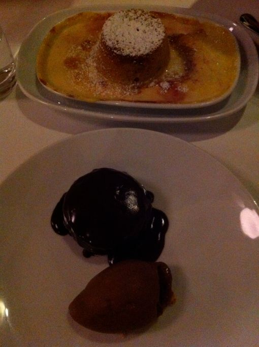 Pear & Raspberry Soufflé and Baked Chocolate Pudding
